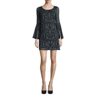 jcpenney.com | Tiana B. Long Bell-Sleeve Lace Shift Dress - Tall