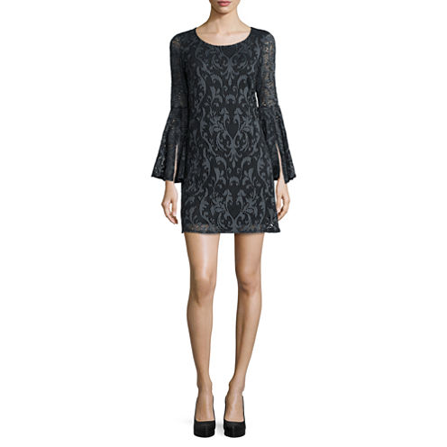 Tiana B. Long Bell-Sleeve Lace Shift Dress - Tall