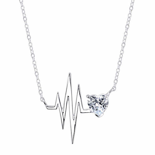 Inspired Moments Womens 18 Inch White Cubic Zirconia Link Necklace