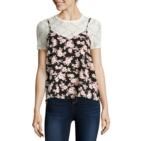 Self Esteem® Short-Sleeve Floral Lace Layered Top - Juniors