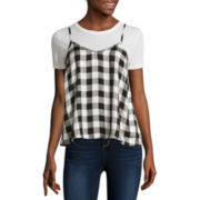 Self Esteem® Short-Sleeve Buffalo Plaid Layered Top - Juniors