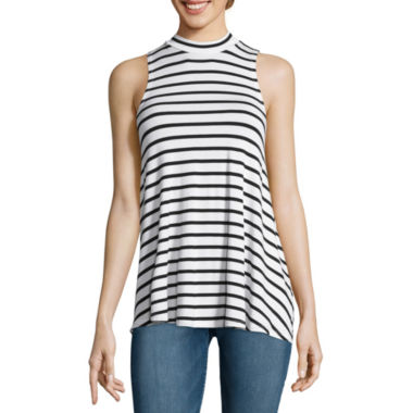 jcpenney.com | Fire Sleeveless Marled Hatchi Striped Mockneck Top - Juniors