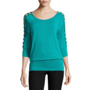 by&by 3/4-Sleeve Cut-Out-Shoulder Top - Juniors