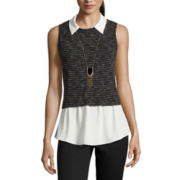 by&by Sleeveless Layered Top with Necklace - Juniors