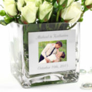Cathy's Concepts Square Glass Vase with Photo Frame