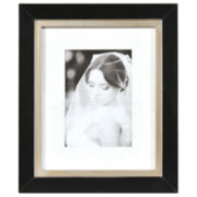 "Artcare 8x10"" Taylor Black & Gold Wall Frame, Matted To 5x7"""