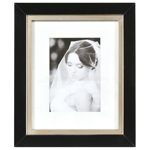 """Artcare 8x10"""" Taylor Black & Gold Wall Frame, Matted To 5x7"""""""