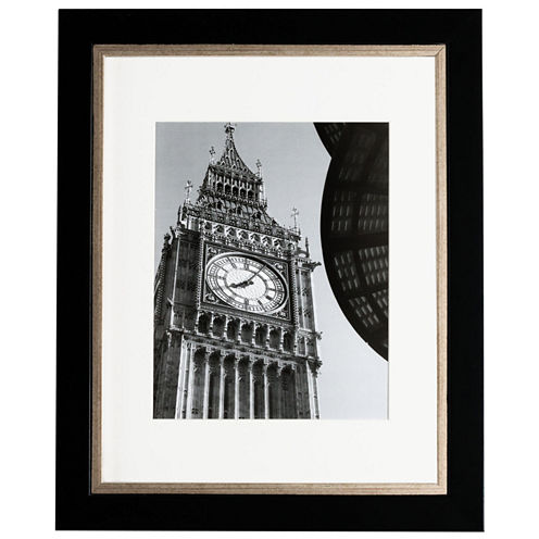 """Artcare 11x14"""" Taylor Black & Gold Wall Frame, Matted To 8x10"""""""