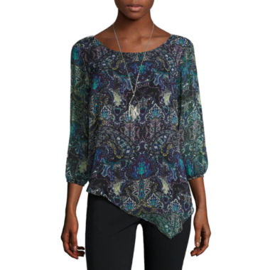jcpenney.com | Alyx® 3/4-Sleeve Asymmetrical Woven Top