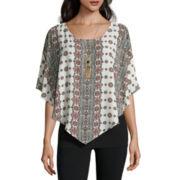Alyx® Short-Sleeve Boho Stripe Popover Top