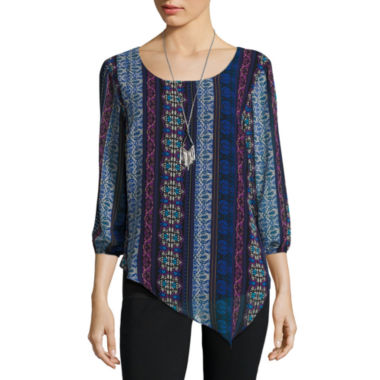 jcpenney.com | Alyx 3/4 Sleeve Scoop Neck Chiffon Blouse