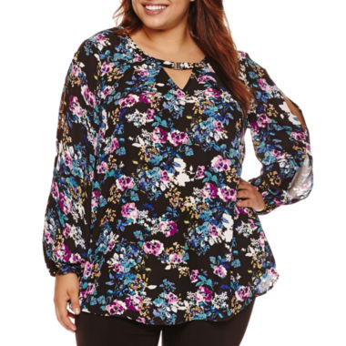 jcpenney.com | Alyx Long Sleeve Keyhole Neck Blouse - Plus