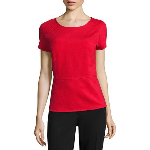 Liz Claiborne® Short-Sleeve Textured Peplum Top - Tall