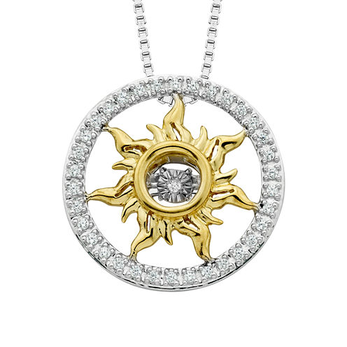 Enchanted Fine Jewelry By Disney Womens 1/10 CT. T.W. White Gold Sterling Silver Pendant Necklace