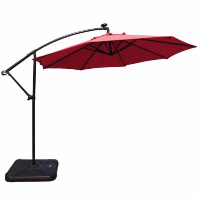 patio deluxe led with solar offset polyester umbrella lovely lights