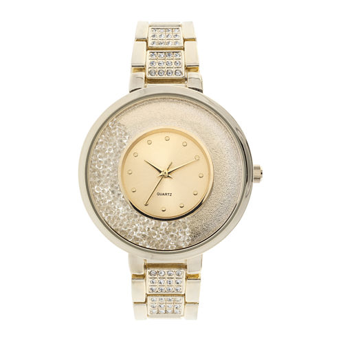 Womens Crystal-Accent Glitz Gold-Tone Bracelet Watch