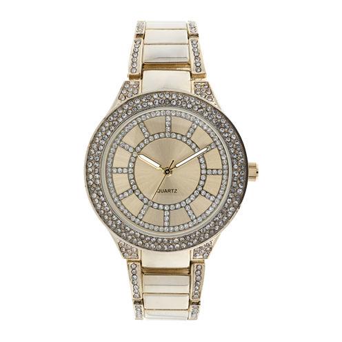 Womens Crystal-Accent Glitz Gold-Tone Bracelet Watch