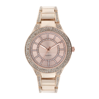 jcpenney.com | Womens Crystal-Accent Glitz Rose-Tone Bracelet Watch