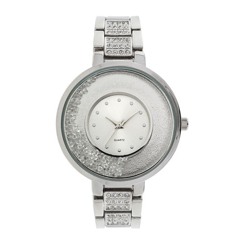 Womens Crystal-Accent Glitz Silver-Tone Bracelet Watch