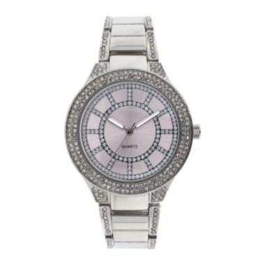 jcpenney.com | Womens Crystal-Accent Glitz Silver-Tone Bracelet Watch