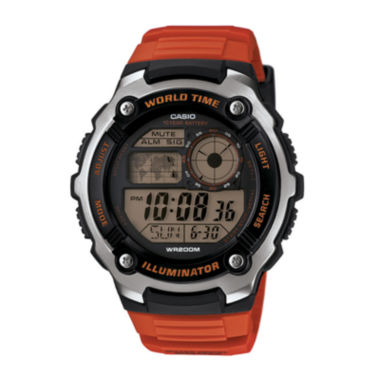 jcpenney.com | Casio® Illuminator Mens Orange Resin Strap Sport Watch AE2100W-4AV