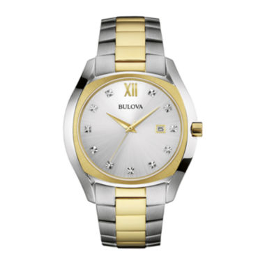 jcpenney.com | Bulova® Diamonds Mens Diamond-Accent Two-Tone Stainless Steel Watch 98D125