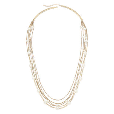 jcpenney.com | Vieste® Simulated Pearl Gold-Tone 5-Row Necklace
