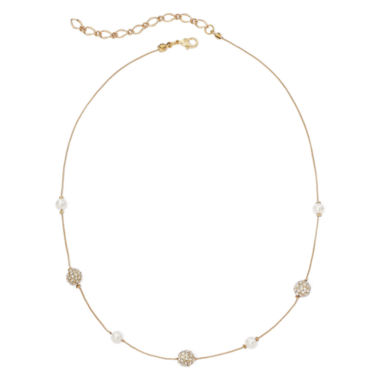 jcpenney.com | Vieste® Simulated Pearl and Fireball Gold-Tone Illusion Necklace