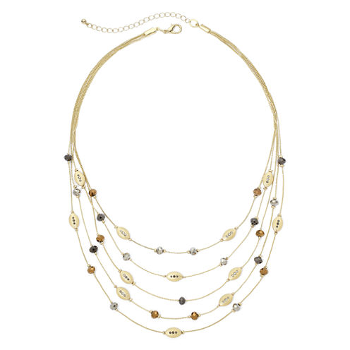 Bold Elements™ Gold-Tone Multi-Row Layered Illusion Necklace