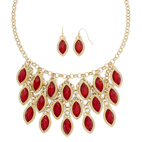 Mixit™ Red Cabochon Earring and Shaky Necklace Set
