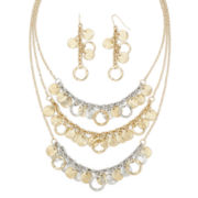 Mixit™ Circle and Textured Disc Earring and Frontal Necklace Set
