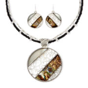 Mixit™ Filigree and Abalone-Look Earring and Pendant Necklace Set