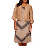 Perceptions 3/4-Sleeve Faux-Suede Jacket Dress - Plus