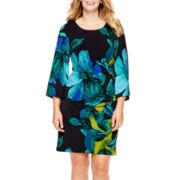 RN studio by Ronni Nicole® 3/4-Sleeve Side-Ruched Sheath Dress - Plus