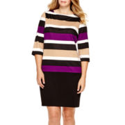 RN Studio by Ronni Nicole® 3/4-Sleeve Striped Sheath Dress - Plus