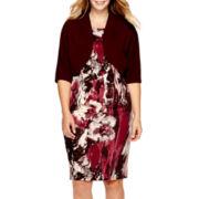 Maya Brooke Short-Sleeve Floral Print Jacket Dress - Plus