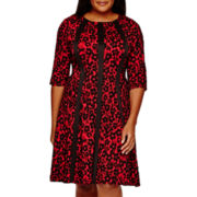 Danny & Nicole® 3/4-Sleeve Jacquard Fit-and-Flare Dress - Plus
