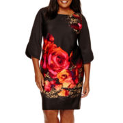 Danny & Nicole® 3/4-Sleeve Floral Print Shift Dress - Plus