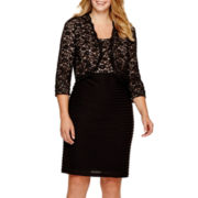 R&M Richards 3/4-Sleeve Lace Jacket Dress - Plus