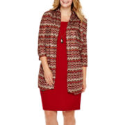 Danny & Nicole® 3/4-Sleeve Knit Jacket Dress - Plus