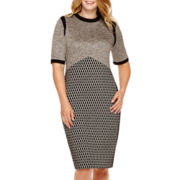 Danny & Nicole® Short-Sleeve Tweed Sheath Dress - Plus