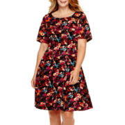 Danny & Nicole® Elbow-Sleeve Scuba Fit-and-Flare Dress - Plus