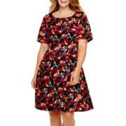 Danny & Nicole® Elbow-Sleeve Scuba Fit-and-Flare Dress - Plus
