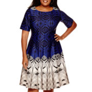 Danny & Nicole® 3/4-Sleeve Scuba Fit-and-Flare Dress - Plus