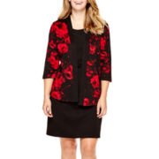 Perceptions 3/4-Sleeve Print Jacket Dress - Plus