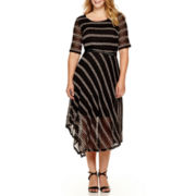 Studio 1® Elbow-Sleeve Striped Fit-and-Flare Dress - Plus