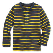 Okie Dokie® Striped Thermal Henley - Toddler Boys 2t-5t