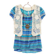 Knit Works Top, Crochet Vest and Necklace - Girls 7-16 and Plus