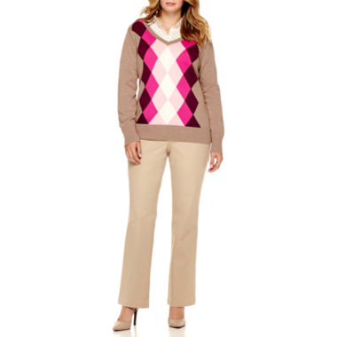 jcpenney.com | St. John's Bay® Argyle Sweater, Plaid Flannel Shirt or Bi-Stretch Twill Pants - Plus