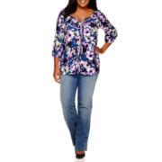 St. John's Bay® Split-Neck Peasant Top or Straight-Leg Jeans - Plus